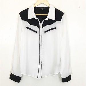 Sanctuary White Black Trim Button Up Shirt A-03